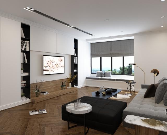 工務店注文住宅のリビングの造作家具壁掛けテレビ 相模原市