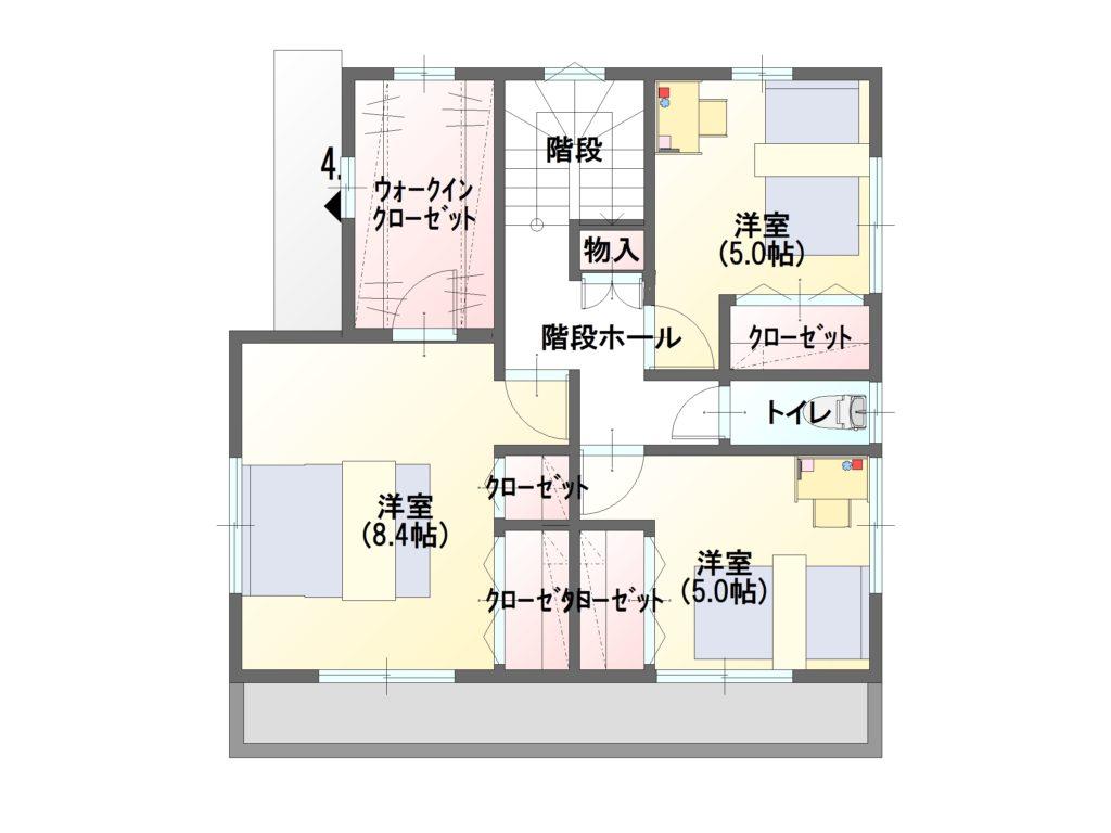工務店のデザイン住宅 2階平面図