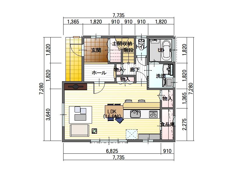 工務店のデザイン住宅 1階平面図